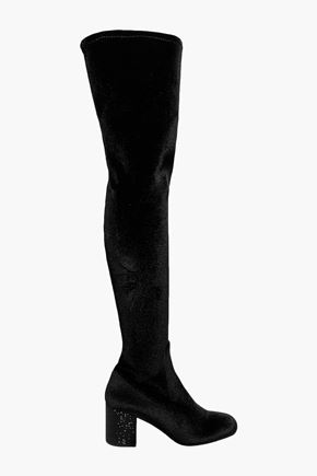 RENE' CAOVILLA Crystal-embellished velvet over-the-knee boots