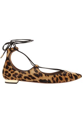AQUAZZURA Christy leopard-print calf hair point-toe flats