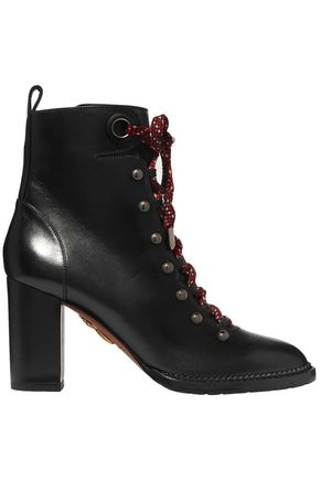 AQUAZZURA Hiker lace-up studded leather ankle boots