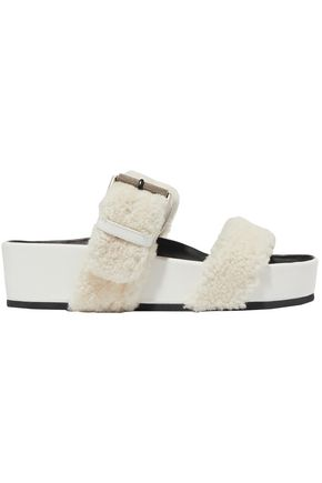 RAG & BONE Buckled shearling platform slides
