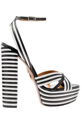 AQUAZZURA Sundance striped leather platform sandals