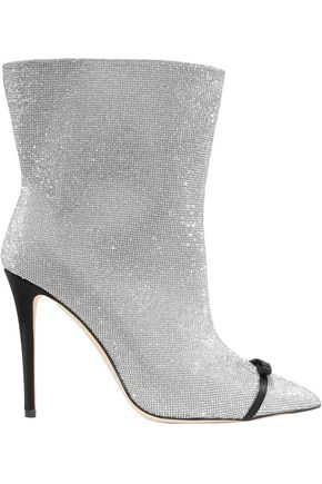 MARCO DE VINCENZO Bow-embellished PVC-trimmed crystal and leather ankle boots