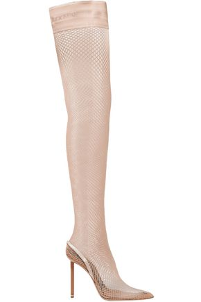 ALEXANDER WANG Cleo suede and leather-trimmed fishnet over-the-knee sock boots