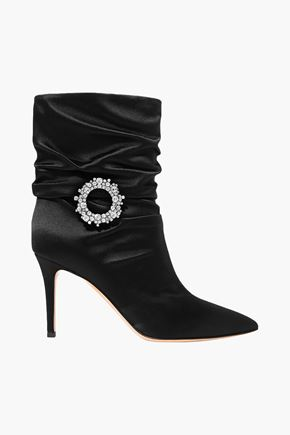 GIANVITO ROSSI Mae 85 crystal-embellished satin ankle boots