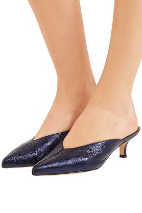 TIBI Frank metallic crinkled-leather mules