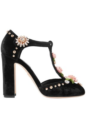 DOLCE & GABBANA Vally embellished velvet Mary Jane pumps