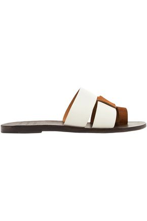 TRADEMARK Cadiz two-tone leather and suede slides