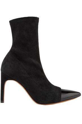 GIVENCHY Graphic patent leather-trimmed suede sock boots