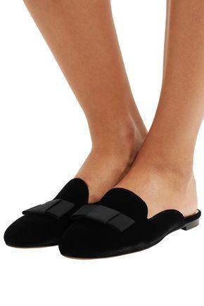 TABITHA SIMMONS Masha grosgrain-trimmed velvet slippers