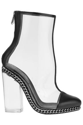 BALMAIN Embellished leather-trimmed PVC ankle boots