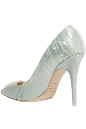 OFF-WHITE™ C/O JIMMY CHOO Anne 100 PVC-wrapped satin pumps