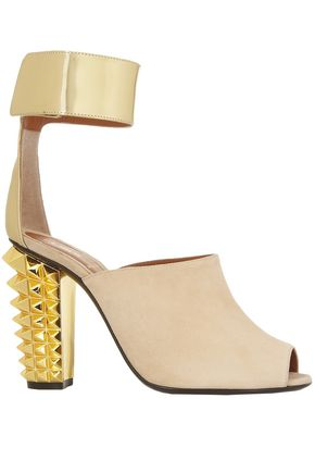 FENDI Stud-embellished metallic leather and suede sandals