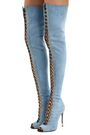 BALMAIN Campbel denim thigh boots