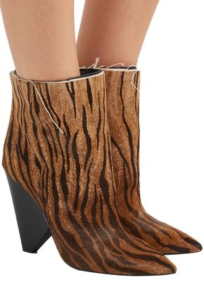 ca182442386 Niki zebra-print calf hair ankle boots | SAINT LAURENT | Sale up to ...