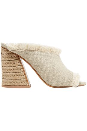 MERCEDES CASTILLO Izar raffia and fringed linen mules