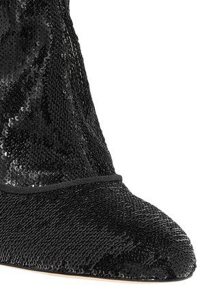 SAM EDELMAN Calexa sequined stretch-twill sock boots