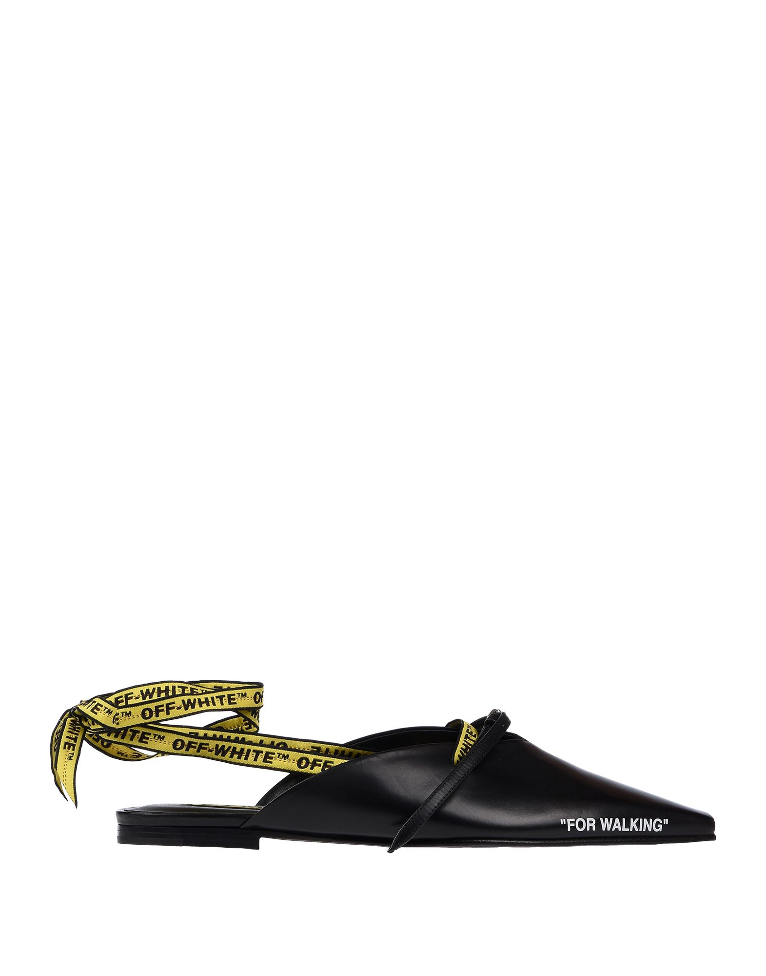 OFF-WHITE™ Ballet flats. no appliqués, solid color, wrapping straps closure, narrow toeline, flat, leather lining, leather sole, small sized, contains non-textile parts of animal origin, sling-backs. Soft Leather
