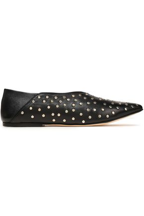 HELMUT LANG Studded leather point-toe flats