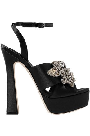SOPHIA WEBSTER Lilico crystal-embellished satin platform sandals