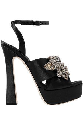 SOPHIA WEBSTER Lilico crystal-embellished satin platform sandals
