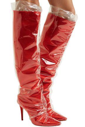OFF-WHITE™ C/O JIMMY CHOO C/O Jimmy Choo Elisabeth 100 PVC-wrapped satin knee boots