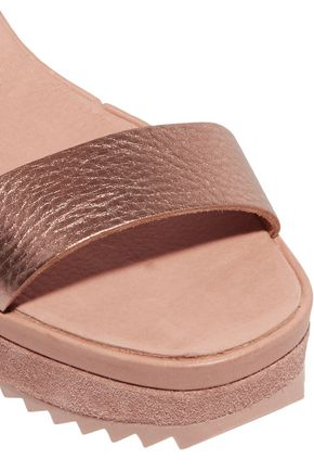 PEDRO GARCÍA Franses metallic leather wedge sandals