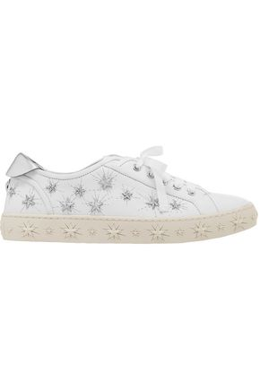 Cosmic Stars Embellished Leather Sneakers by Aquazzura