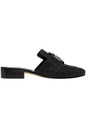 DORATEYMUR Petrol glittered canvas mules