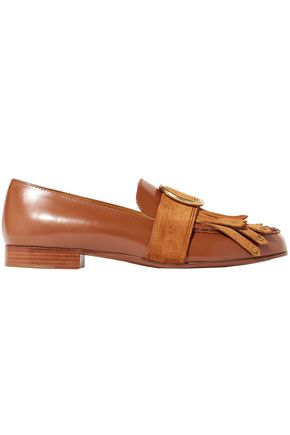 CHLOÉ Olly fringed suede-trimmed embellished leather loafers