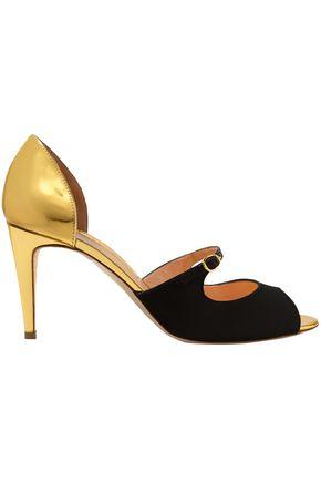 RUPERT SANDERSON Metallic leather and satin sandals