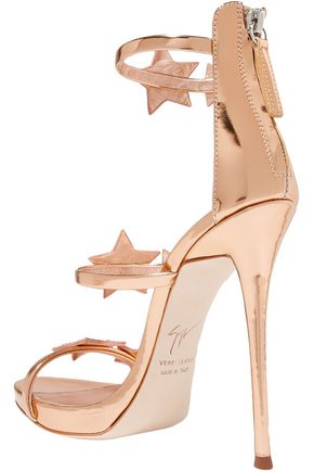 GIUSEPPE ZANOTTI Coline appliquéd metallic leather sandals