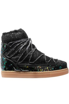 SOPHIA WEBSTER Quentin glittered leather, shearling and mesh snow boots