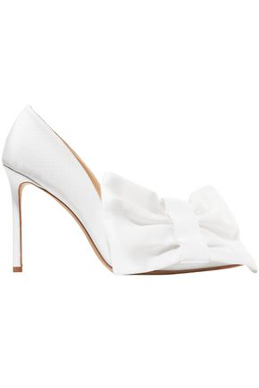 OFF-WHITE™ C/O JIMMY CHOO C/O Jimmy Choo Mary 100 bow-embellished grosgrain pumps