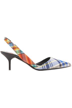 BURBERRY Leather-trimmed checked twill slingback pumps