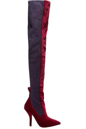 FENDI Rockoko velvet and metallic ribbed-knit thigh boots