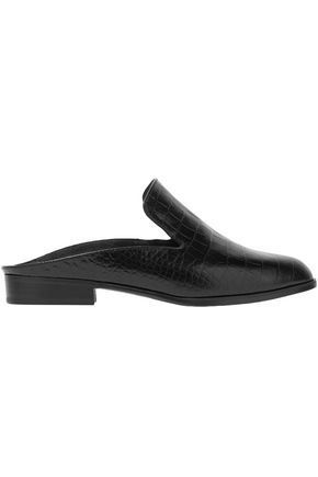 ROBERT CLERGERIE Croc-effect leather slippers