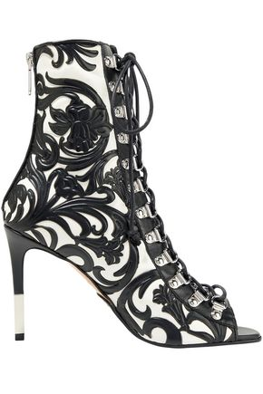 BALMAIN Lace-up embossed leather ankle boots