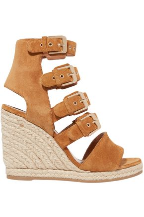 LAURENCE DACADE Rosario buckled suede espadrille wedge sandals