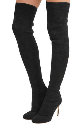 FRANCESCO RUSSO Stretch-mesh over-the-knee boots