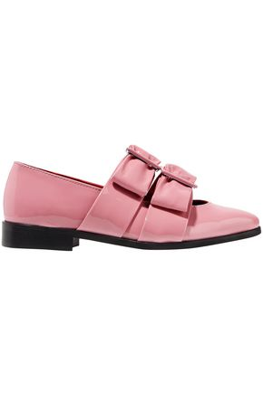 GANNI Idette bow-embellished patent-leather loafers
