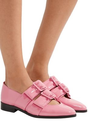 GANNI Idette bow-embellished patent-leather loafers