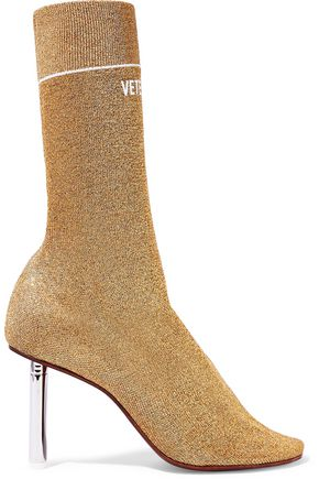 VETEMENTS Metallic knitted ankle boots