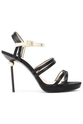 ROGER VIVIER Patent leather-trimmed satin sandals