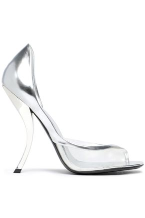 ROGER VIVIER PVC-trimmed metallic leather pumps