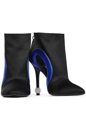 ROGER VIVIER Cutout two-tone satin ankle boots