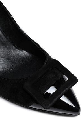 ROGER VIVIER Suede-trimmed patent-leather pumps