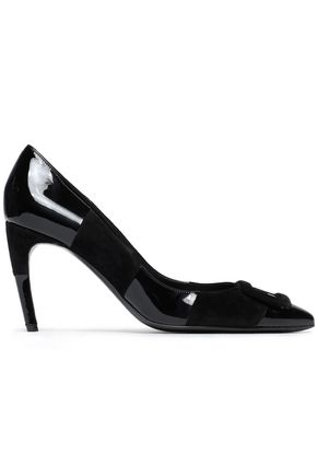 ROGER VIVIER Suede-trimmed patent-leather pumps