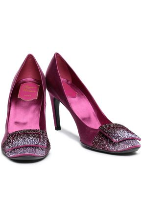 ROGER VIVIER Flower Strass buckle-embellished satin pumps