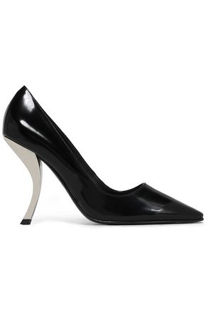 ROGER VIVIER Virgule glossed-leather pumps