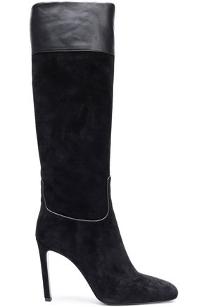 ROGER VIVIER Leather-trimmed suede knee boots